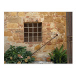 Window and ancient stone wall, Pienza, Italy Post Card