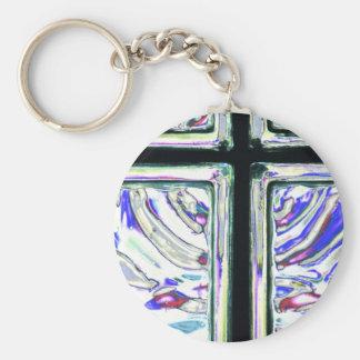 Window Art Cross 2 Basic Round Button Keychain