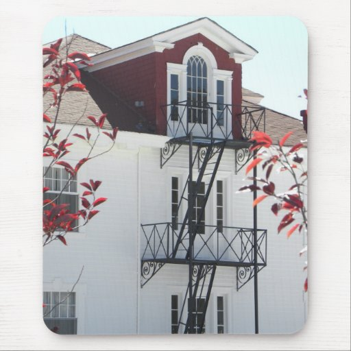 Window balconies and red foliage mousepad