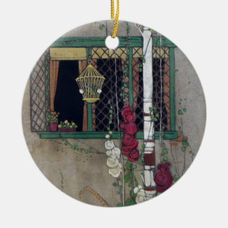 Window, Birdcage and Flowers Vintage Home Ceramic Ornament