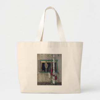 Window, Birdcage and Flowers Vintage Home Large Tote Bag