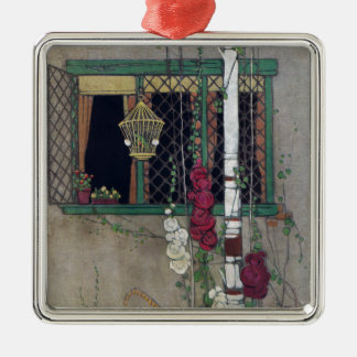 Window, Birdcage and Flowers Vintage Home Metal Ornament