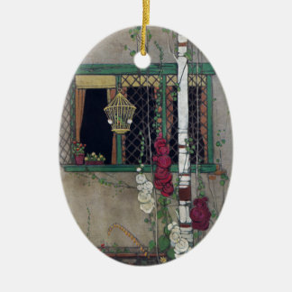 Window, Birdcage and Flowers Vintage Home Double-Sided Oval Ceramic Christmas Ornament