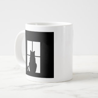 Window Black Cat Click to Customize a color decor Large Coffee Mug