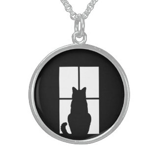 Window Cat Click to Customize Color Background Sterling Silver Necklace