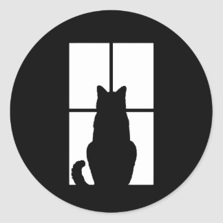 Window Cat Click to Customize Get any color decor Classic Round Sticker