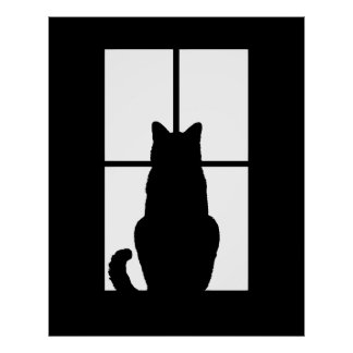 Window Cat Click to Customize Get any color decor Poster