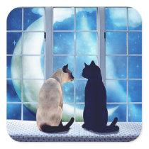 Window Cats Square Sticker
