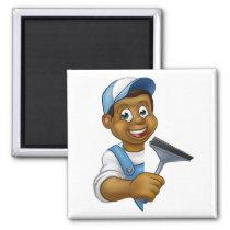 Window Cleaner Cartoon Character Magnet