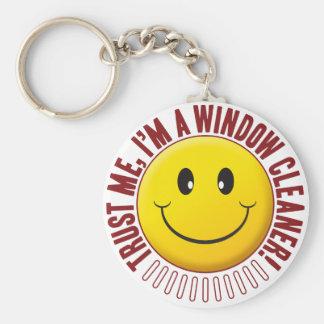 Window Cleaner Trust Smiley Basic Round Button Keychain