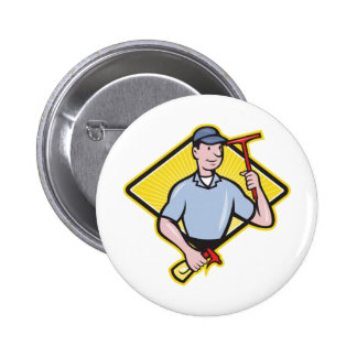 Window Cleaner With Squeegee Pinback Buttons