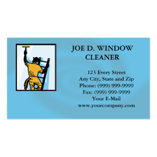 Window Cleaner Worker Cleaning Ladder Retro Business Card