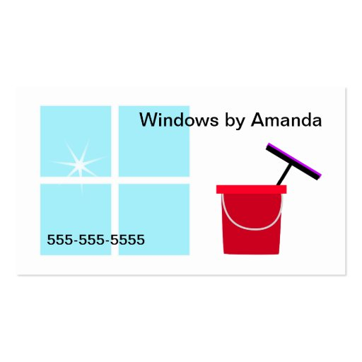 Window cleaning double sided standard business cards pack for Window cleaning business cards