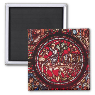 Window depicting a wine merchant magnet