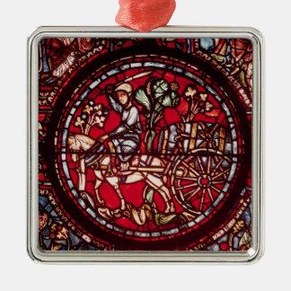 Window depicting a wine merchant metal ornament