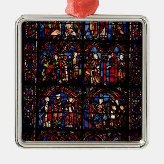 Window depicting scenes square metal christmas ornament