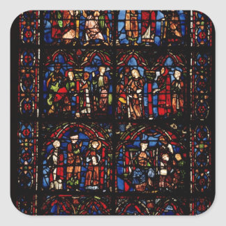 Window depicting scenes square sticker