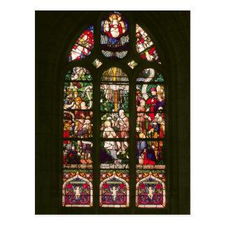 Window depicting the baptism of Christ, 1490 Postcard