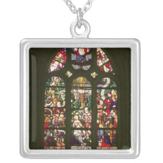Window depicting the baptism of Christ, 1490 Silver Plated Necklace