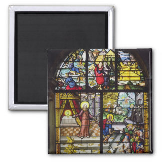 Window depicting the Gathering of the Manna 2 Inch Square Magnet