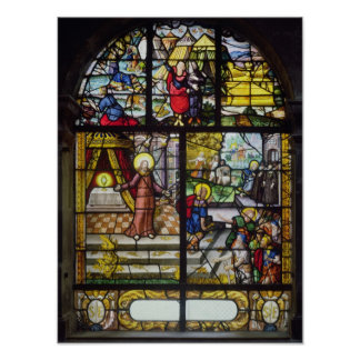 Window depicting the Gathering of the Manna Poster