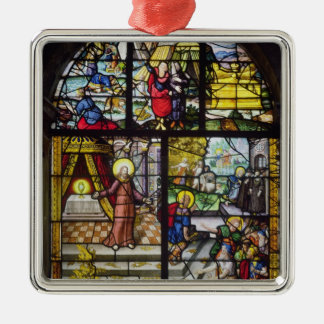 Window depicting the Gathering of the Manna Square Metal Christmas Ornament