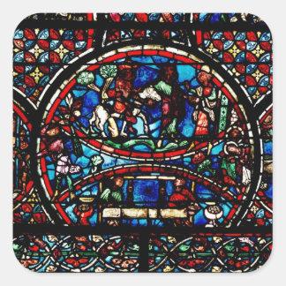 Window depicting the Good Samaritan Square Sticker