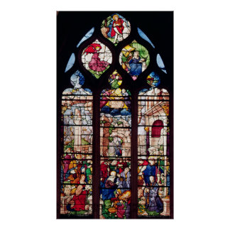 Window depicting the Nativity Poster