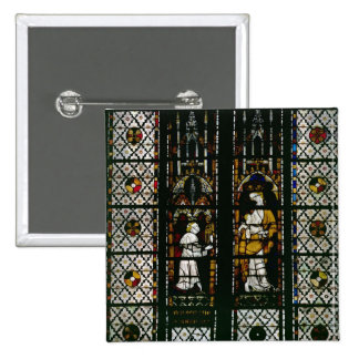 Window depicting the Virgin and Raoul de Ferrieres 2 Inch Square Button