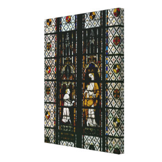 Window depicting the Virgin and Raoul de Ferrieres Canvas Print