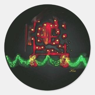 Window Dressing Christmas Lights  Black Background Classic Round Sticker