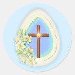 Window Egg and Cross Classic Round Sticker