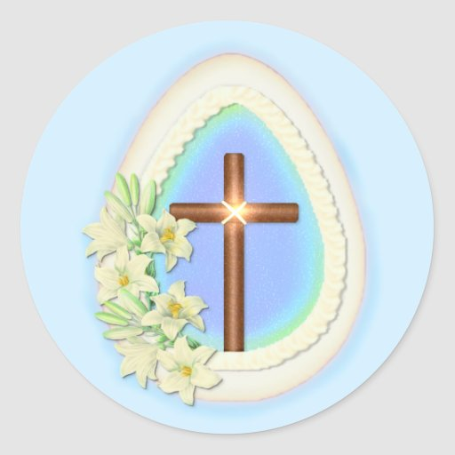 Window Egg and Cross Classic Round Sticker