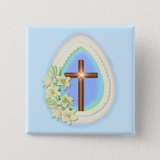 Window Egg and Cross Pinback Button
