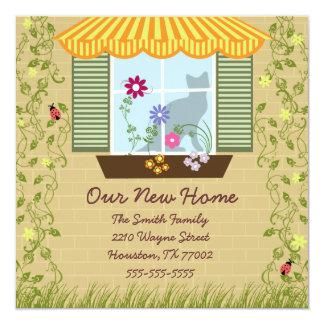Window Flower Box Moving 5.25x5.25 Square Paper Invitation Card