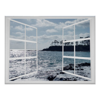 Window Frame with Ocean Coast and Palm Trees Poster