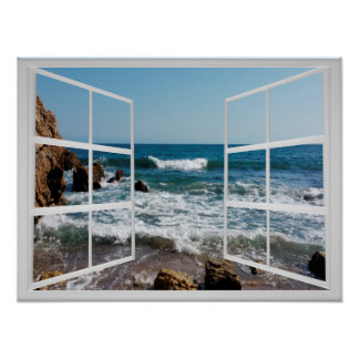 Window Frame with Rocky Ocean Coast and Waves Poster
