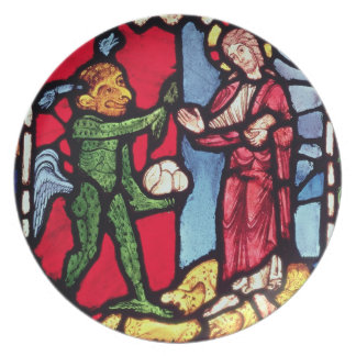 Window from Troyes Cathedral showing the Temptatio Dinner Plate