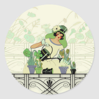 WINDOW GARDEN, ART DECO LADY: SUMMER GREENS CLASSIC ROUND STICKER