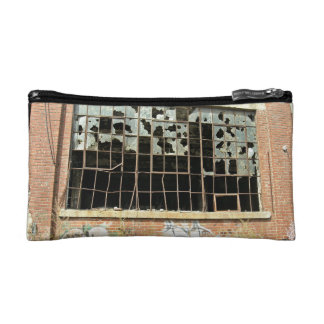 Window In Brick House with Broken Glass Cosmetic Bags