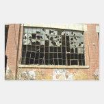 Window In Brick House with Broken Glass Rectangular Sticker