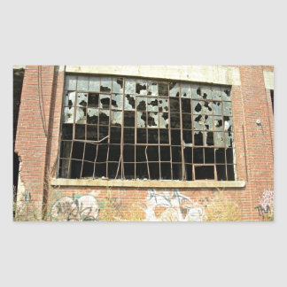 Window In Brick House with Broken Glass Stickers