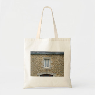 Window In Rough Stone Wall With Lace Curtains Canvas Bags
