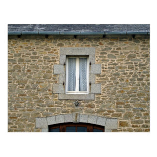 Window In Rough Stone Wall With Lace Curtains Postcard