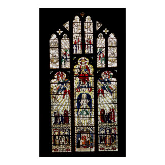 Window in Worcester Cathedral, 15th century Poster