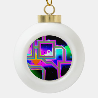 Window into the Universe, Abstract Magenta & Cyan Ceramic Ball Christmas Ornament