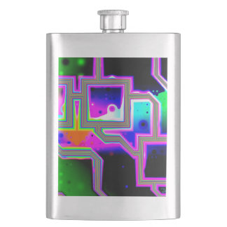 Window into the Universe, Abstract Magenta & Cyan Hip Flask