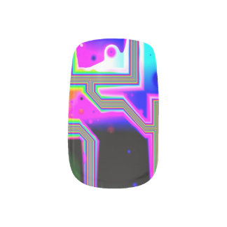 Window into the Universe, Abstract Magenta & Cyan Minx® Nail Wraps