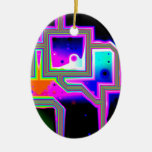 Window into the Universe – Abstract Magenta & Cyan Christmas Ornament