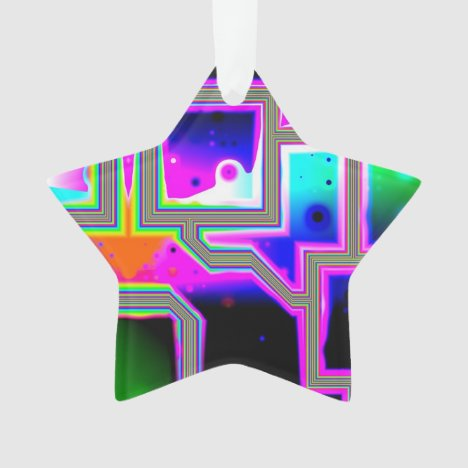 Window into the Universe, Abstract Magenta & Cyan Ornament